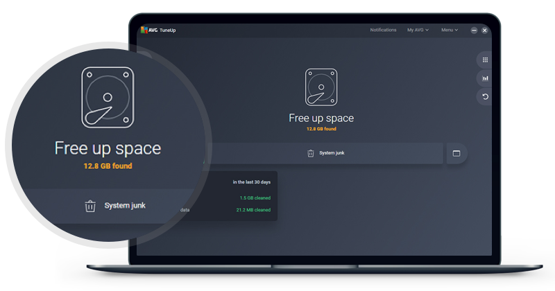 AVG TuneUp removes unnecessary files and junk from your browser and system to free up tons of space.