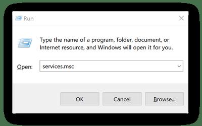 Running Services in Windows 10.