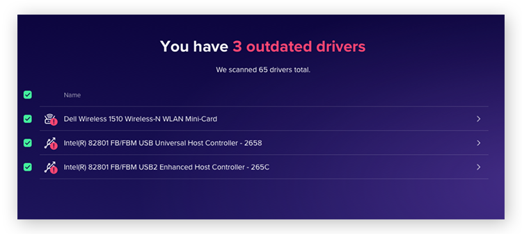 Driver Updater in AVG TuneUP scanning for outdated drivers.