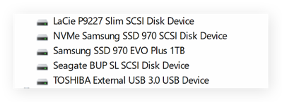 Find the exact names of your disk drives.