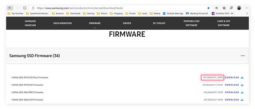 Updating firmware through Samsung's support pages.