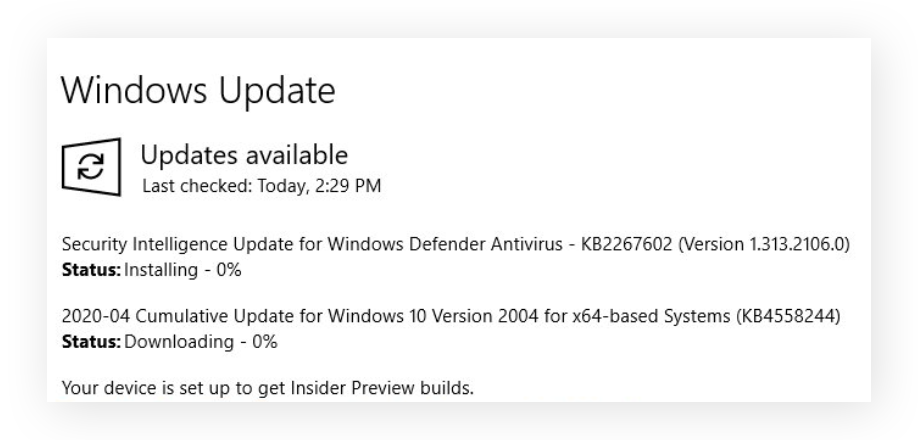 Windows Update popup showing a program update being downloaded and installed.