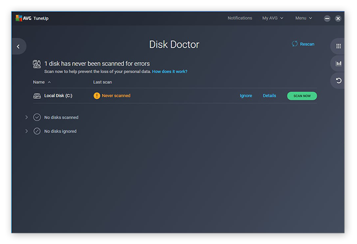 The Disk Doctor tool in AVG TuneUp
