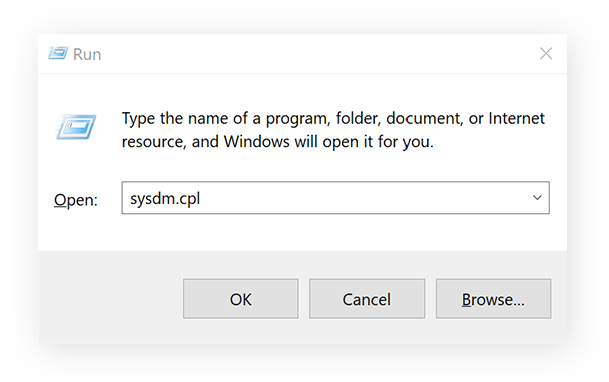Opening System Properties to manage paging file size.