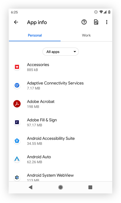 Viewing all apps in Android 11.