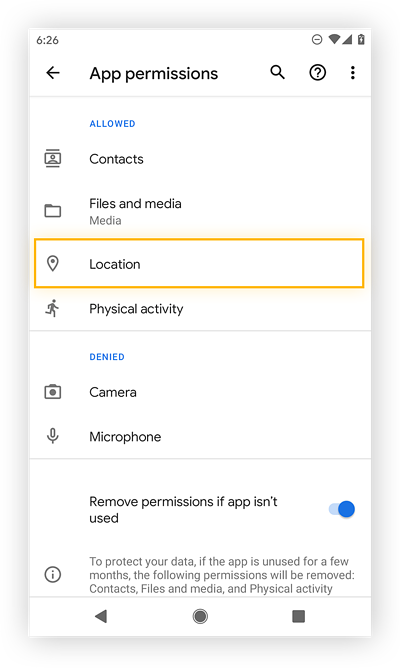 Viewing a specific app's permissions in Android 11.