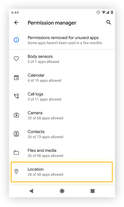 Viewing the Android permission manager.