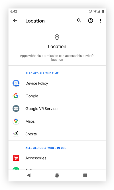 Viewing all apps with location permissions.