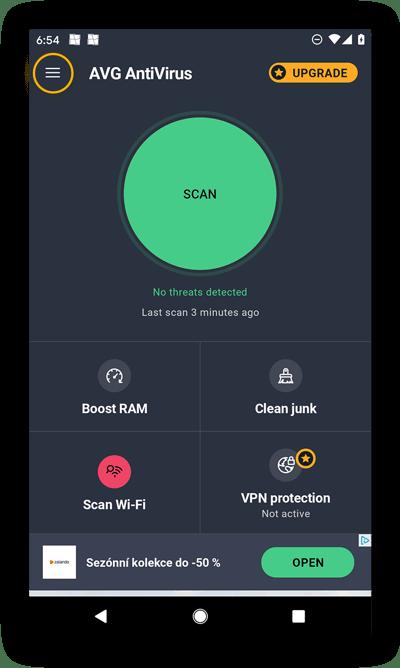 AVG AntiVirus FREE for Android's homescreen.