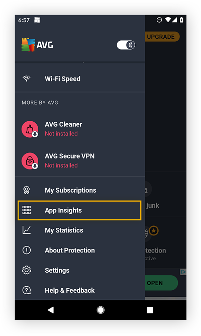 Opening Settings in AVG AntiVirus FREE for Android.