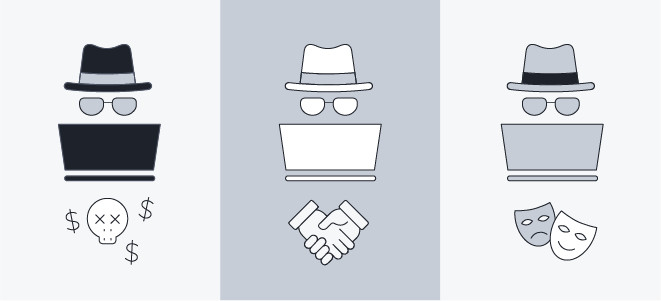An illustration showing the three types of hackers: black hat, white hat, and grey hat