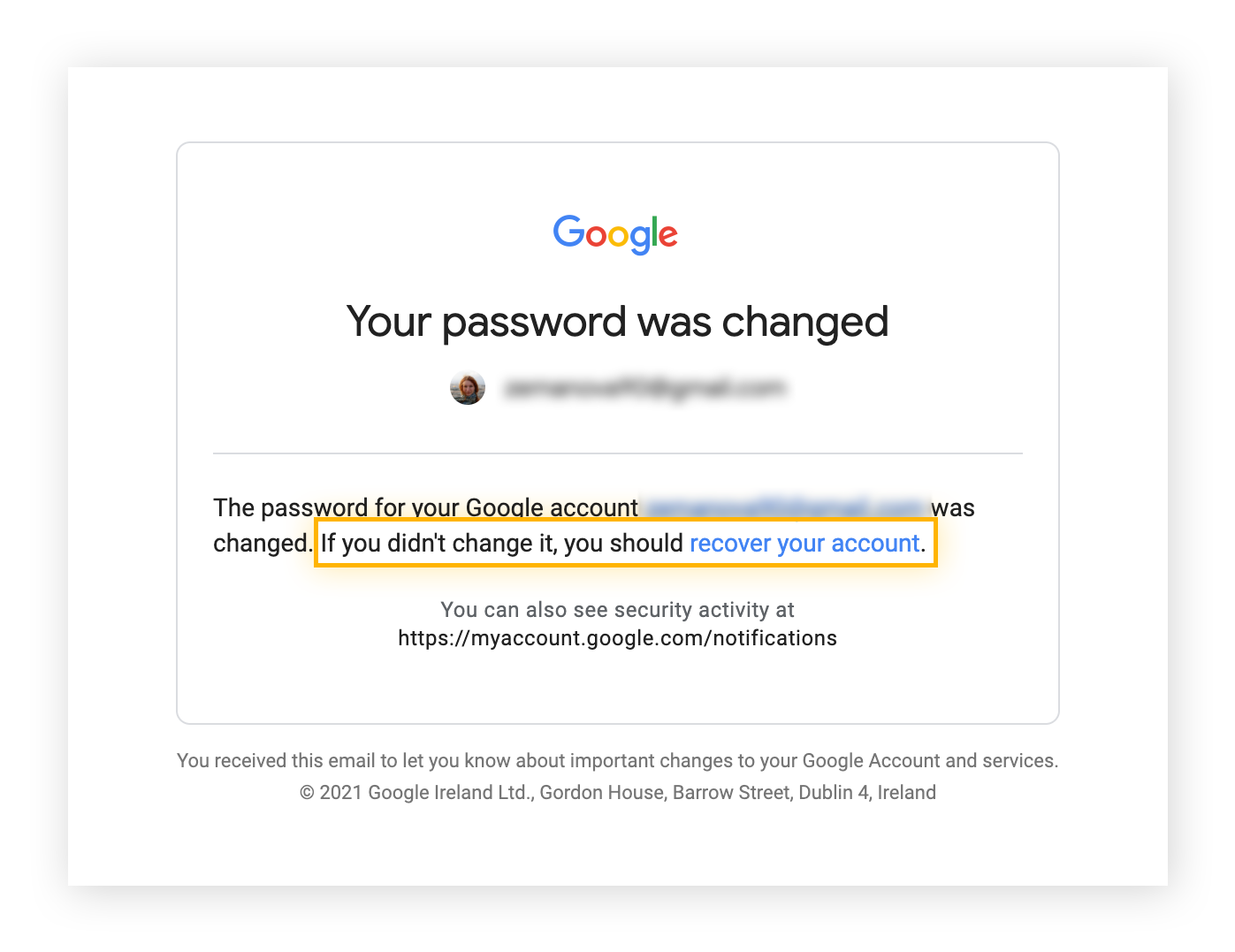 A hacking alert from Gmail.