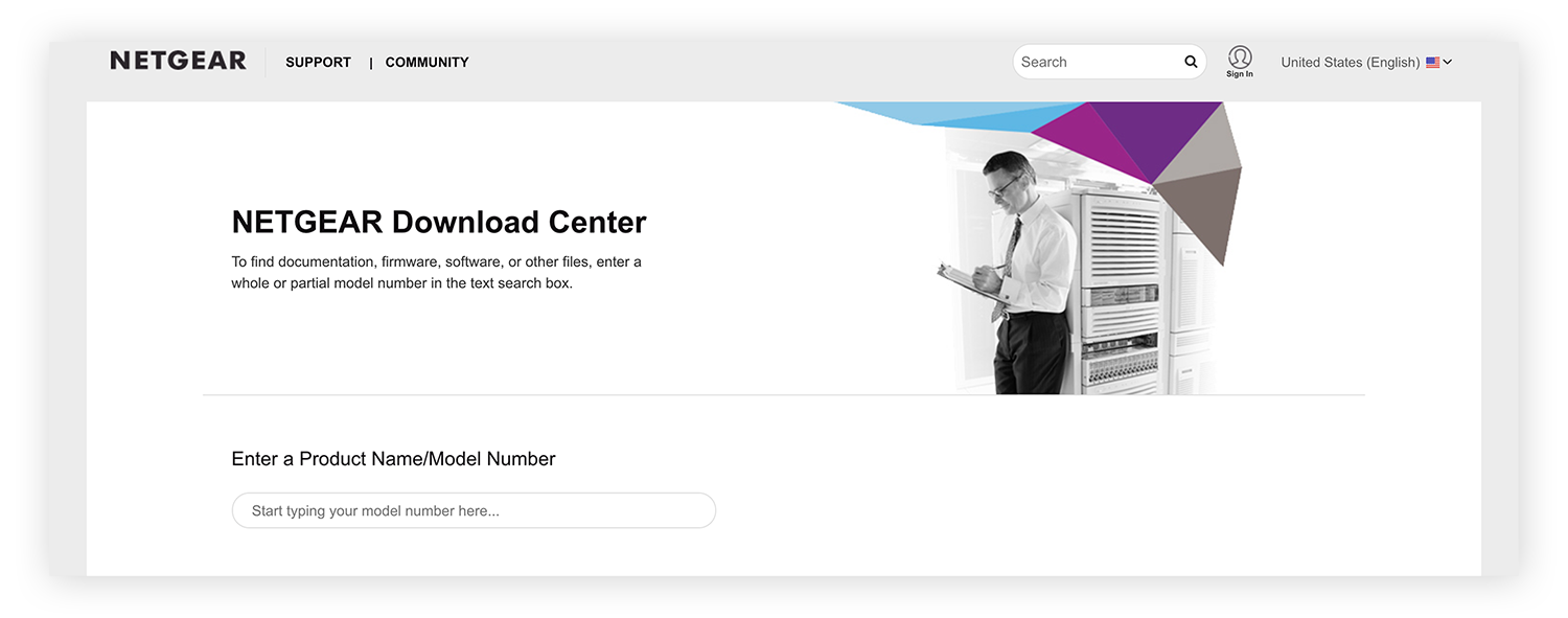 The Netgear Download Center, where you can download router firmware