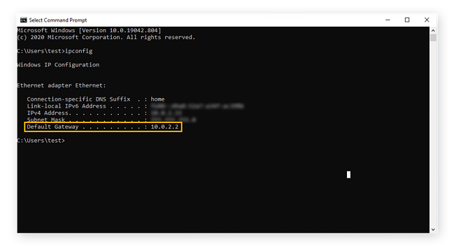 Finding a router IP address using the Command Prompt in Windows 10