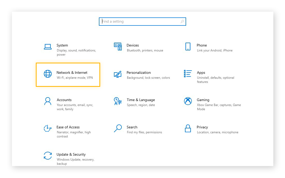 Opening the Network & Internet settings in Windows 10