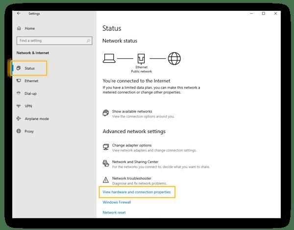 The Network status settings in Windows 10