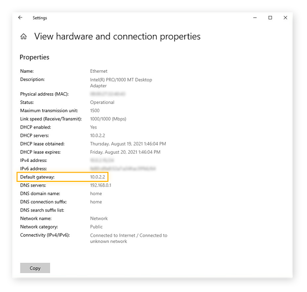 Viewing hardware and connection properties in Windows 10