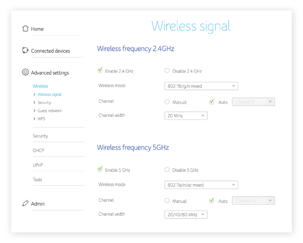 The wireless signal settings in a router menu