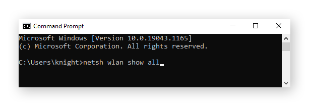 """Entering the command """"netsh wlan show all"""" into the Command Prompt in Windows 10"""
