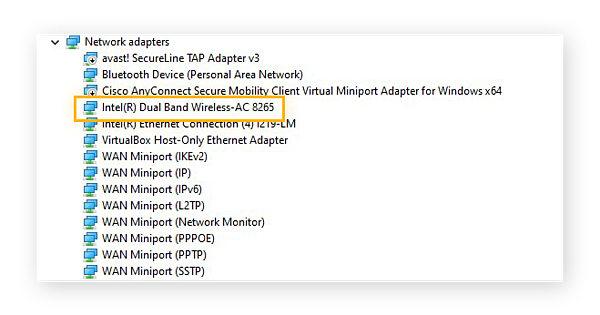 Identifying the wireless adaptor in the Device Manager for Windows