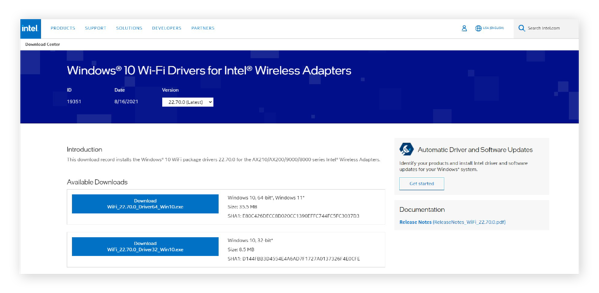 The latest wireless drivers on Intel's website
