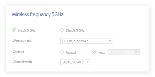 5GHz Wi-Fi router settings