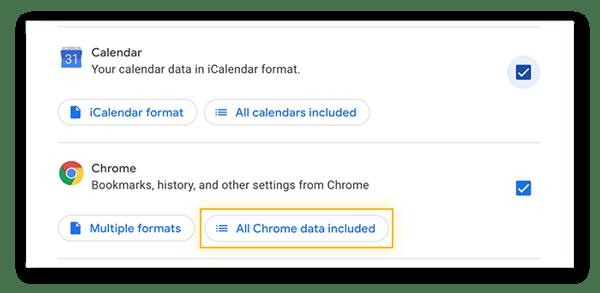 Scelta dei dati di Calendar e Chrome da scaricare con Google Takeout