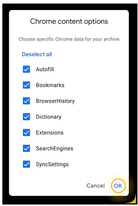 Los distintos tipos de datos de Chrome disponibles para su descarga mediante Google Takeout