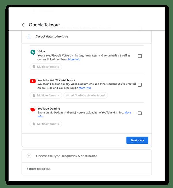 """Fahren Sie in Google Takeout von Schritt 1 zu Schritt 2 fort, indem Sie auf die Schaltfläche """"Nächster Schritt"""" klicken"""