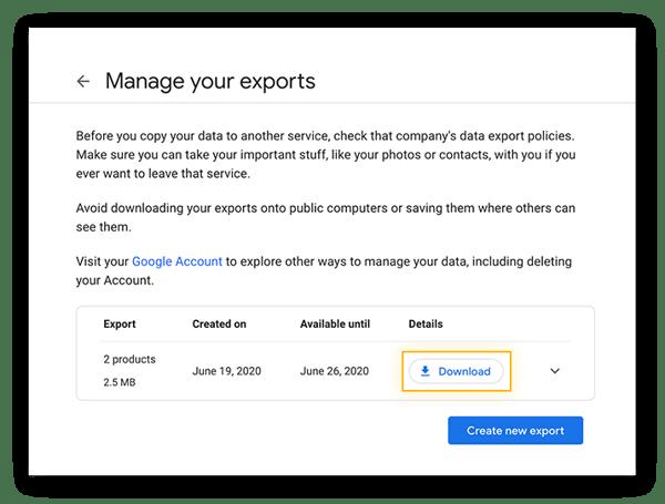 Herunterladen eines neuen Google-Datenexports aus Google Takeout