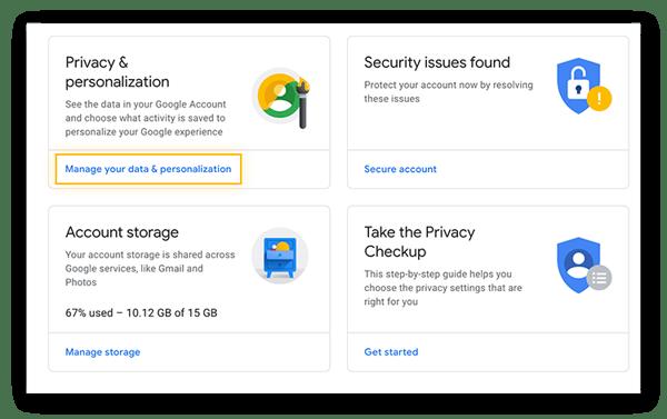 Gestión de la configuración de datos y personalización en su cuenta de Google