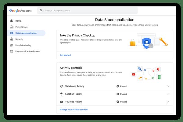 """Auf der Seite """"Daten und Personalisierung"""" der Google-Kontoeinstellungen werden die Aktivitätssteuerelemente angezeigt"""