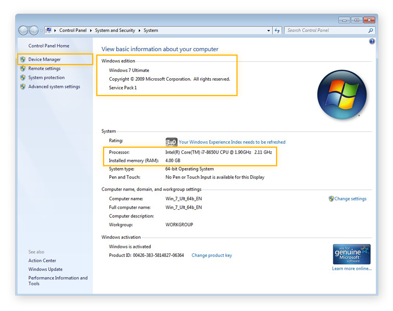 The system information in Windows 7, showing basic computer specs
