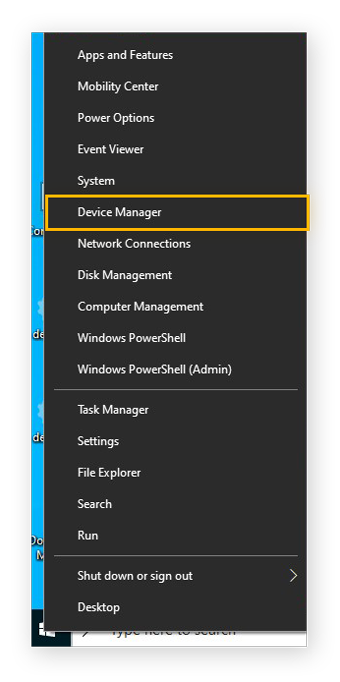 The menu shown when right-clicking on the Windows menu