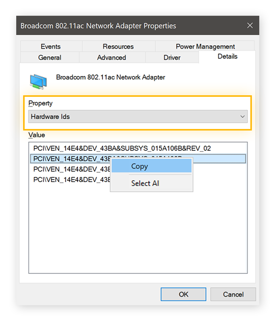 Viewing hardware information in the Details tab for a Broadcom Network Adapter in Windows 10