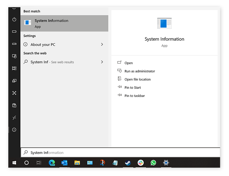 Opening the System Information tool from the Windows menu in Windows 10
