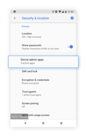 "Select ""Device admin apps"" to see which malicious apps may have access to your device."