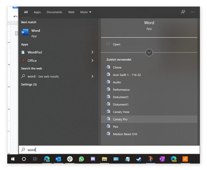 You can access recently opened files and other shortcuts directly from the Start menu's search field.