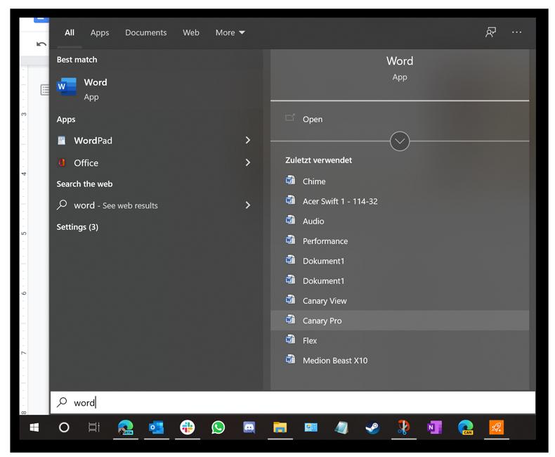 Vous pouvez accéder aux fichiers ouverts récemment et aux autres raccourcis directement depuis le champ de recherche du menu Démarrer.