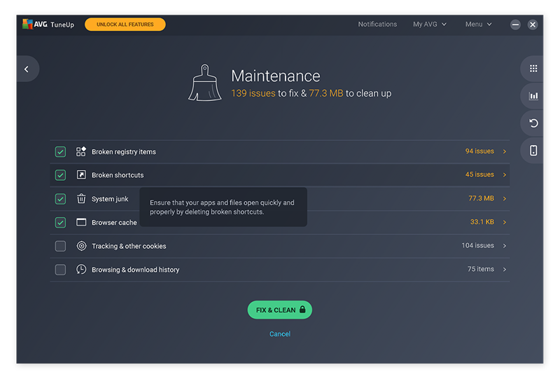 Launching the Automatic Maintenance feature in AVG TuneUp.