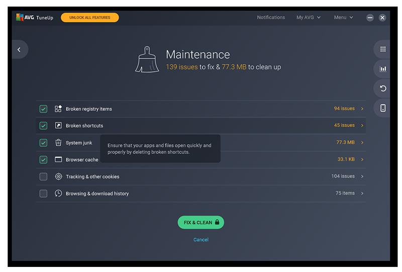 Lancement de la fonctionnalité Maintenance automatique dans AVGTuneUp.