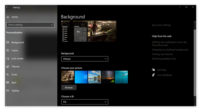 Personnalisation des paramètres des icônes du Bureau dans Windows10