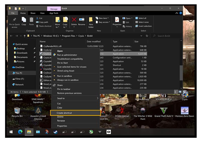 Création d'un raccourci avec un clic sur le bouton droit de la souris sur un fichier dans vos programmes.