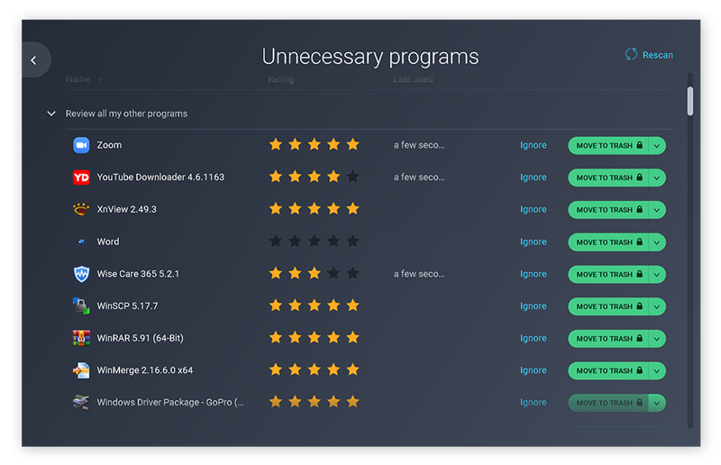 In AVG TuneUp, click Speed up to find the Unnecessary programs feature.