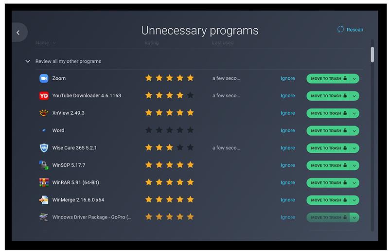 Dans AVGTuneUp, cliquez sur Accélération pour retrouver la fonctionnalité Programmes inutiles.