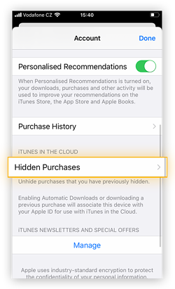"To find apps you hid the purchase of, tap ""Hidden Purchases""."