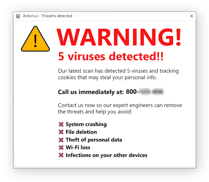 Example of a fake warning that aims to trick you into calling a fake hotline for tech support.
