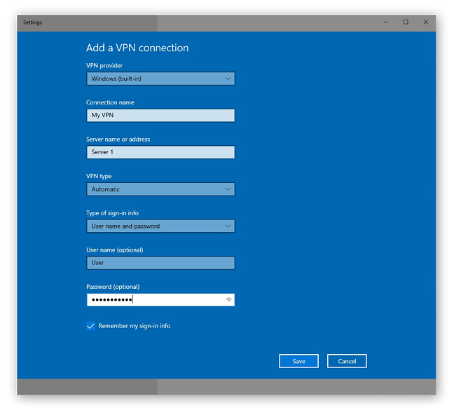 Adding and configuring a new VPN connection in Windows 10