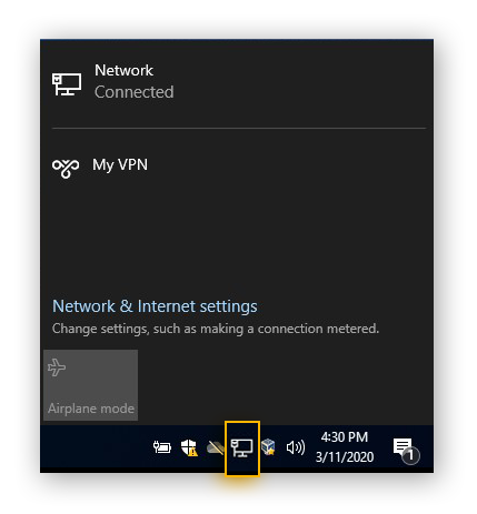 Connecting to a VPN in Windows 10 from the Network icon in the taskbar