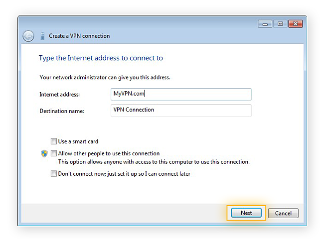 Setting up a VPN in Windows 7